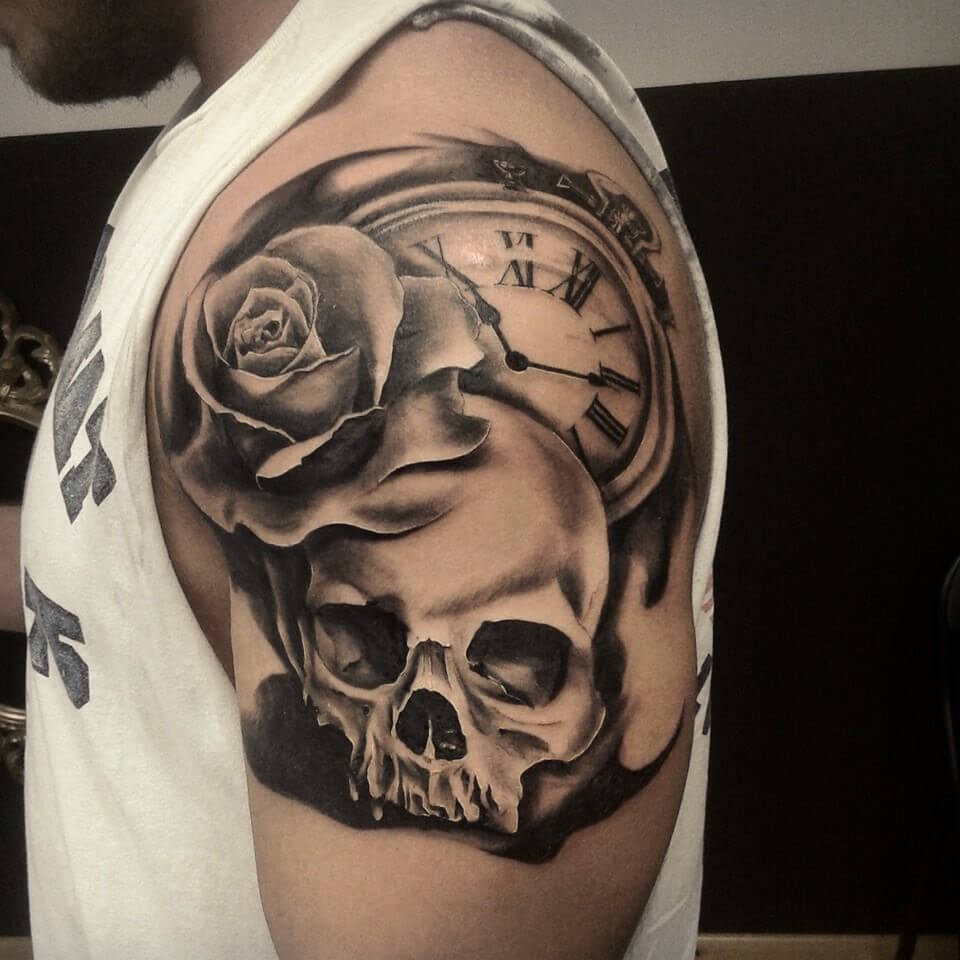 Tatuaje Calavera Brazo/Hombro para Hombre