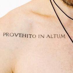 Tatuaje Frase Latín Provehito In Altum - Desde lo profundo hasta las alturas.