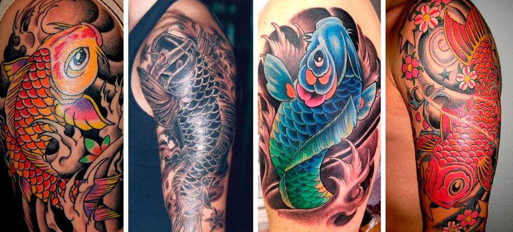 koi fish - tattoo- red- blue - black